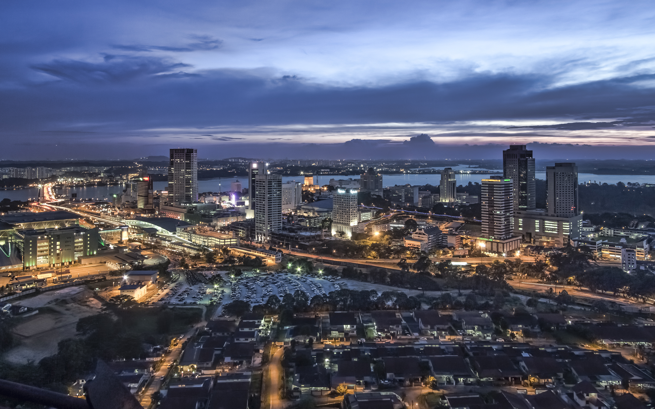 Johor bahru from pacific mall tower this is shot from for Home wallpaper johor bahru