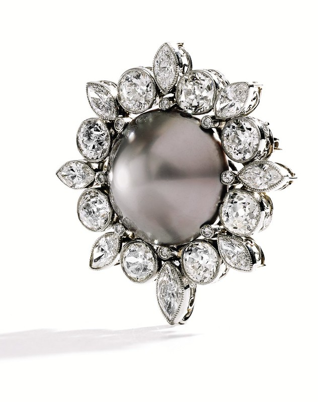 8925 - Rare Natural Gray Pearl and Diamond Brooch TURNED.jpg