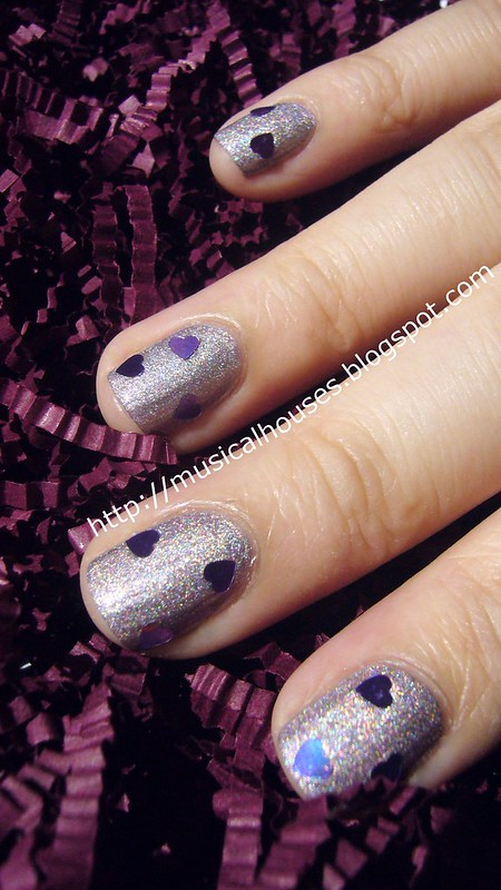 valentines day nail art purple holo hearts 2