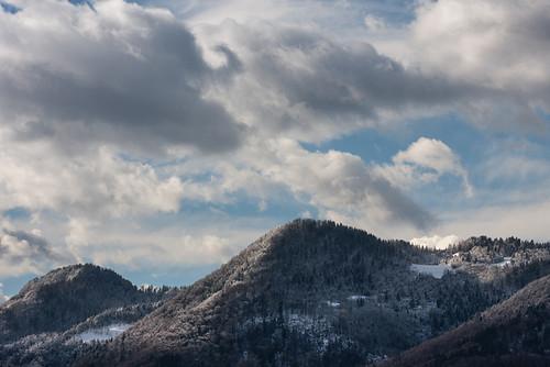 trees winter snow clouds january slovenia peaks 2013 dobrovlje