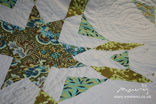 Starburst quilting in progress""