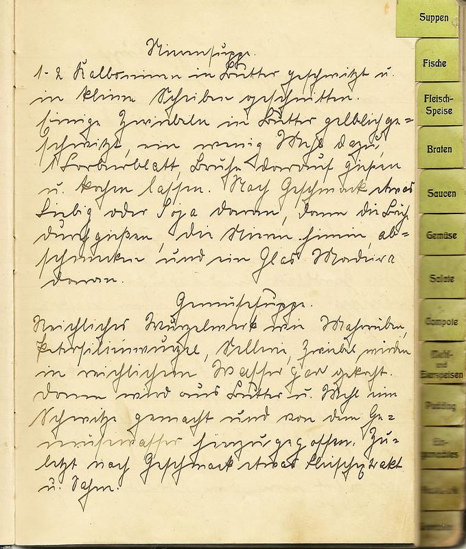 Kochreceptbuch altes handschriftliche Kochrezepte Gertrud 1917 Suppe Gemüsesuppe alte Schriften Kurrent Sütterlin