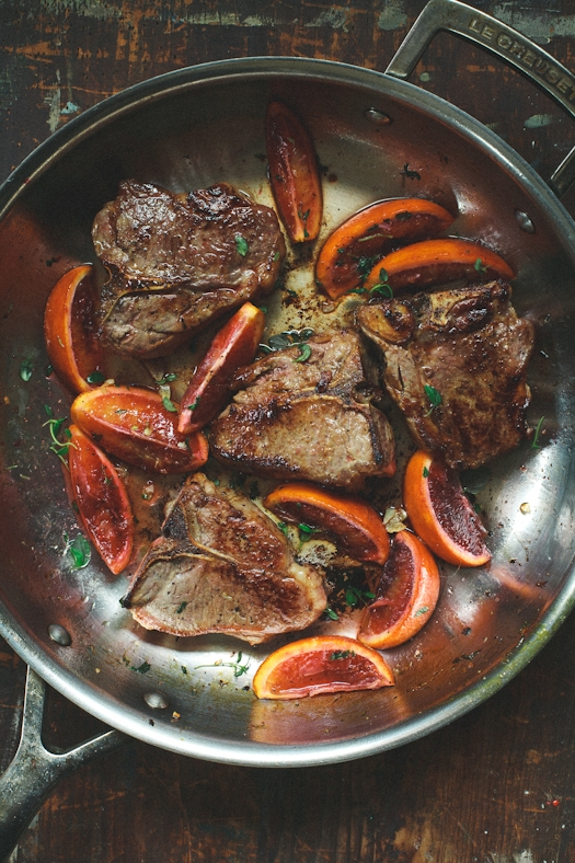 Lamb Chops & Blood Orange Sauce