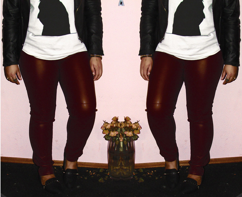 Zara, Yoko Ono, Vero Moda, H&M, OOTD, Outfit of the day, What I was wearing, Leather pants, Red leather pants, spiked loafers, loafers, T-shirt, High Bun