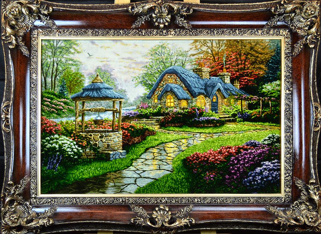 tableau-hand-made-persian-rug-thomas-kinkade-cottage-woods-wildlife