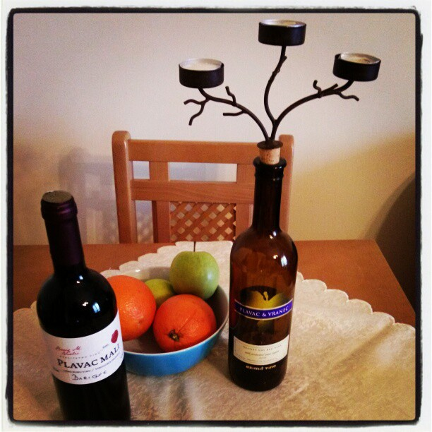 Still life with wine from Croatia and a candelabra from Santa Ynez valley.