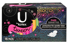 "kotex's ""tween"" line of pads"