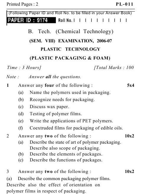 UPTU B.Tech Question Papers -PL-011- Plastic Technology