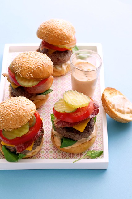 Pan-fried baby bacon cheeseburgers with special sauce p.g103