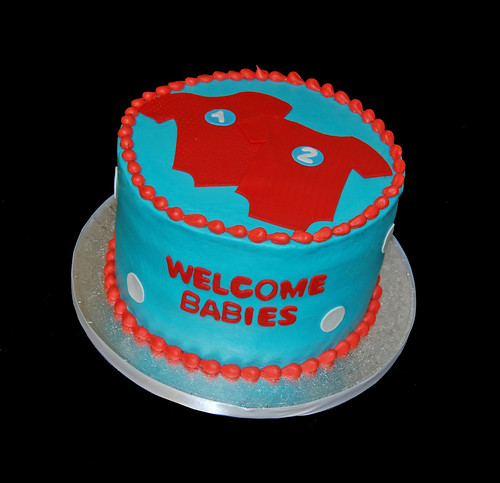 Twins Baby Shower Cake for a Dr Seuss themed party