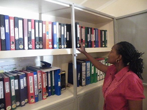 Vicki checks the files
