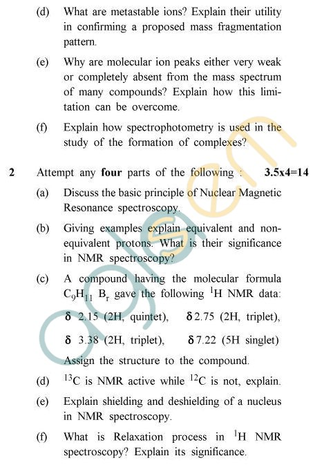 UPTU B.Tech Question Papers -CY-601 - Instrumental & Analytical Chemistry