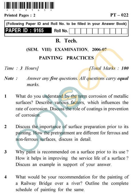 UPTU B.Tech Question Papers -PT-022 - Painting Practices