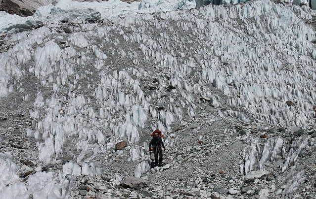 Descending a glacier on the way from Tashi Labsta to Thame