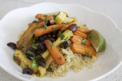 Moroccan Spiced Vegetables over Quinoa with Lime