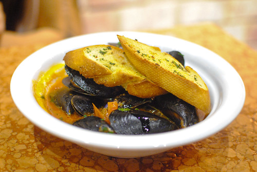 Guazzetto di Cozze mussels in red sauce (soup)
