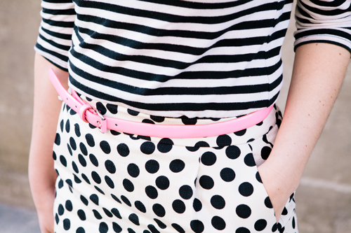 stripes and polka dots outfit