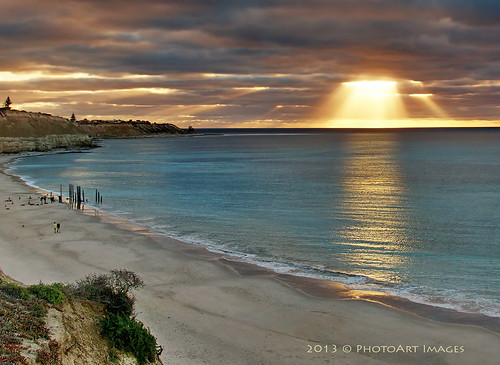 ocean sunset beach sunshine cliffs sunrays southaustralia portwillunga flickrsfinestimages1 photoartimages