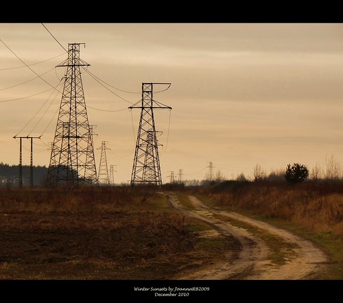 road winter sunset sky nature landscape countryside power path electricity kleszczów