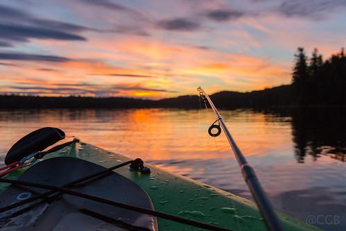 2016 camping greenfield nh newhampshire otter lake kayak fishing sunset water clouds