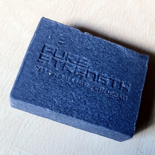 "Human Nature's Pure Strength body soap. I asked my brother-in-law for another bar as the one I had for Christmas is almost gone. 100% No Harmful Chemicals and it reads ""Black Diamond Cleansing Bar with Energizing Peppermint."" The strange thing is that it"