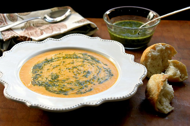 Carrot ginger soup with hot chili cilantro oil recipe