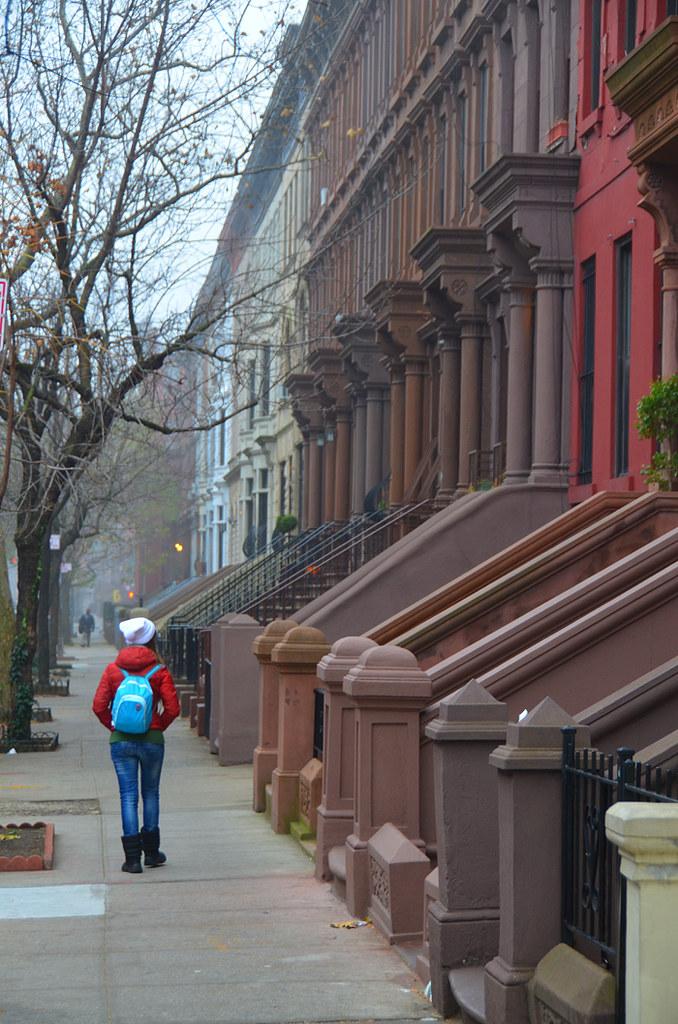 Casas del Brown Stones en el barrio de Harlem de Nueva York