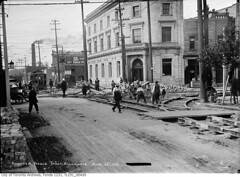 Laying track at Dundas and Keele streets, looking north