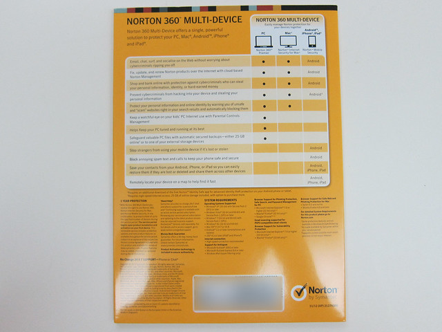 Norton 360 Multi-Device - Packaging Back View
