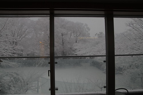 Snow scenery through kitchen window