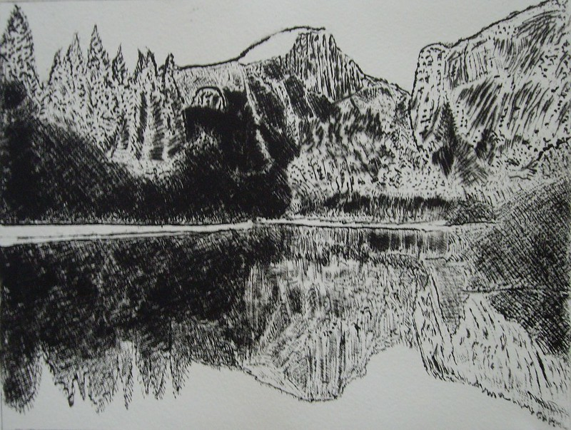 Etching of Half Dome, Yosemite National Park