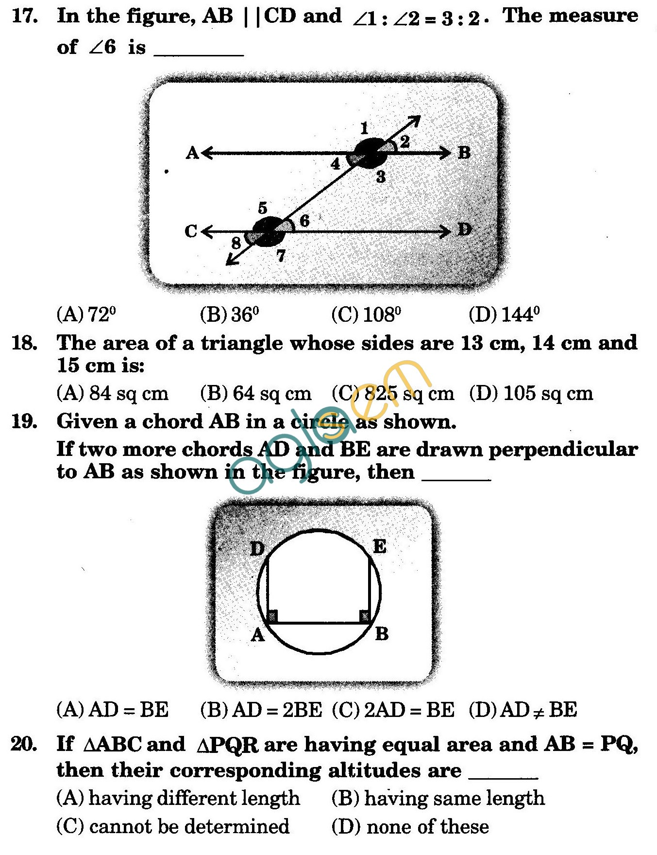 NSTSE 2009 Class IX Question Paper with Answers - Mathematics