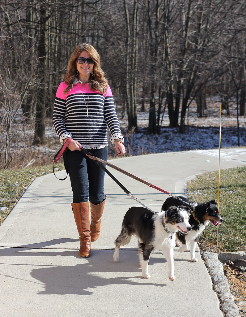 neon striped sweater casual outfit