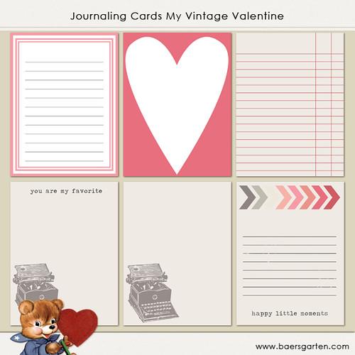 Journaling Cards Vintage Valentine
