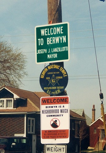 Village of Berwyn city limits border signs on West 16th Street.  Berwyn Illinois.  April 1989. by Eddie from Chicago