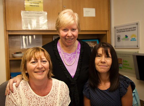 Mairead Hughes SSL (centre) with staff of Youth Horizons project