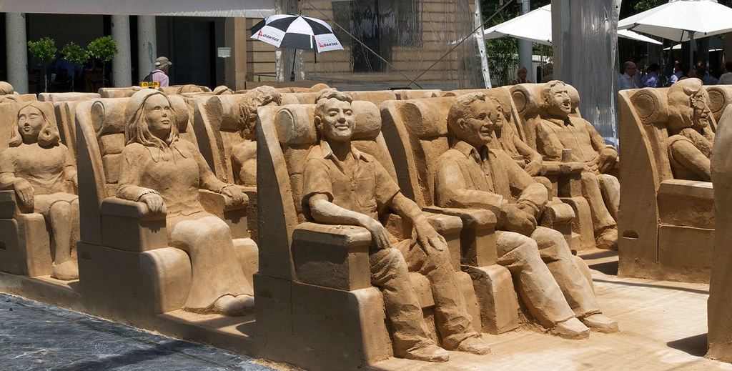 Sand sculpture - Please fasten your seat belts and return your seat to an upright position