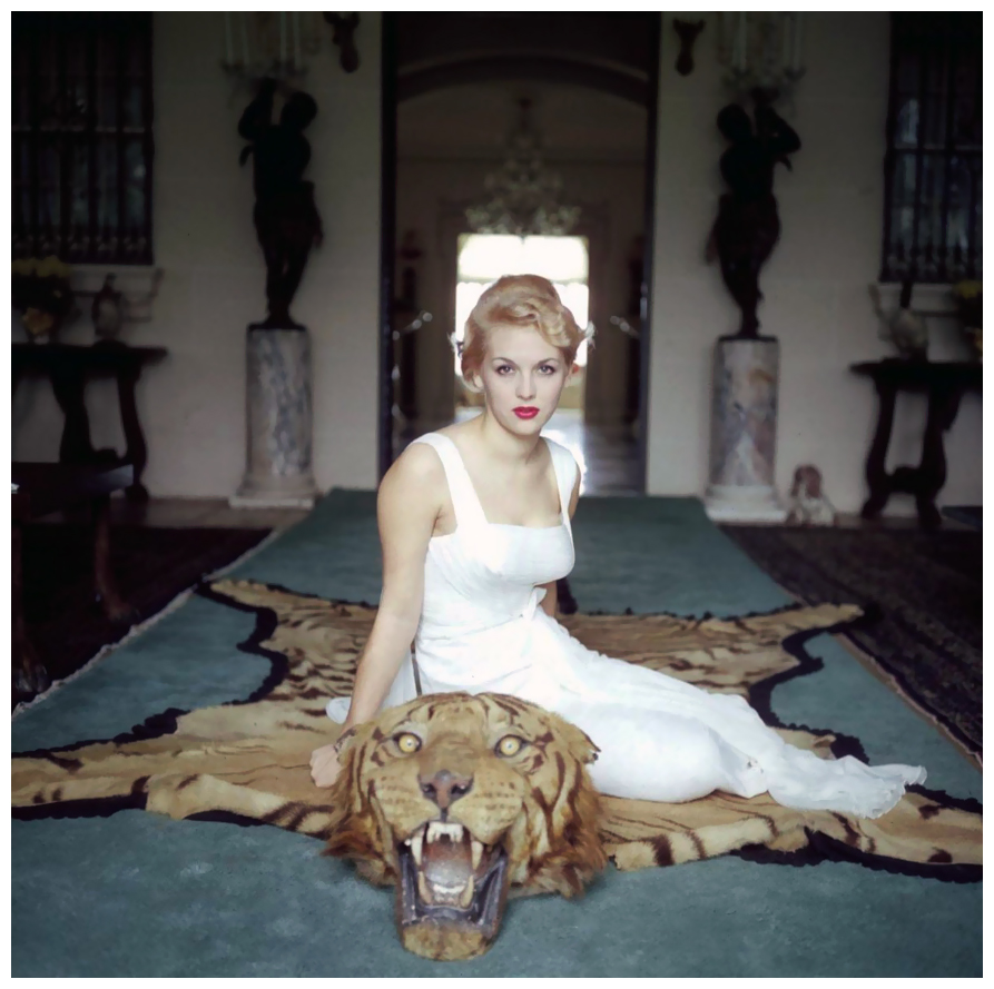 Tiger Rug Room: 1959 Lady Daphne Cameron On A