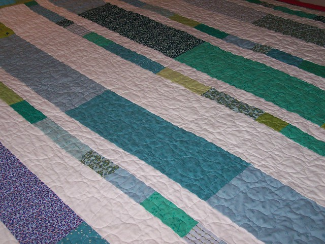 Blues Greens Strip Lap Quilt