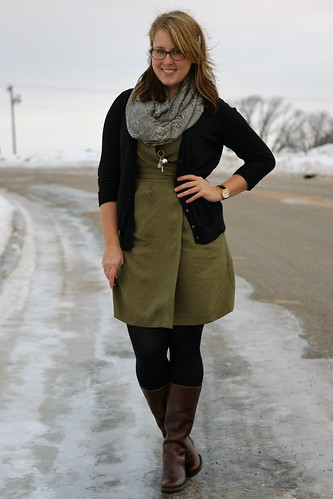 olive dress, dark cardigan
