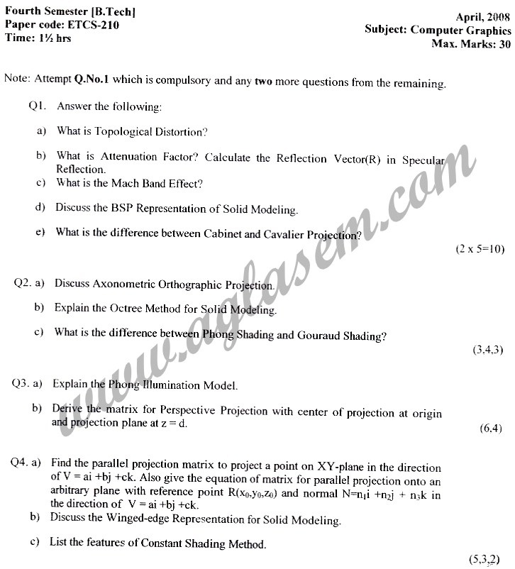 GGSIPU Question Papers Fourth Semester – Second Term 2008 – ETCS-210