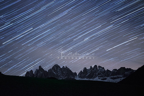 Star trails over the Dolomites