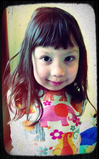 Viviana's new haircut. Well not technically unless you consider cuttings her bangs a haircut.
