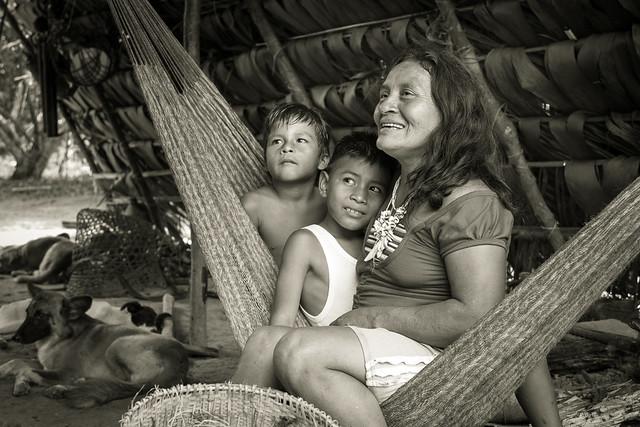 Habitants d'un village Huaorani