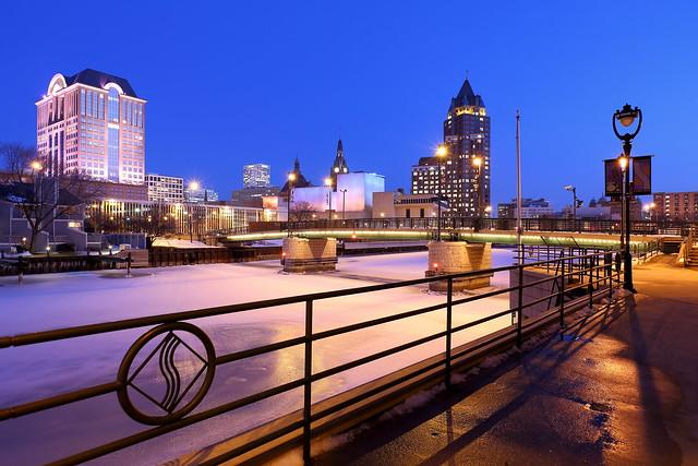 Along the Milwaukee Riverwalk, Winter Twilight