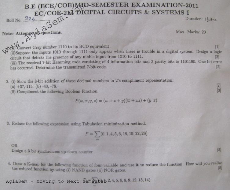 NSIT: Question Papers 2011 – 4 Semester - Mid Sem - EC-COE-214