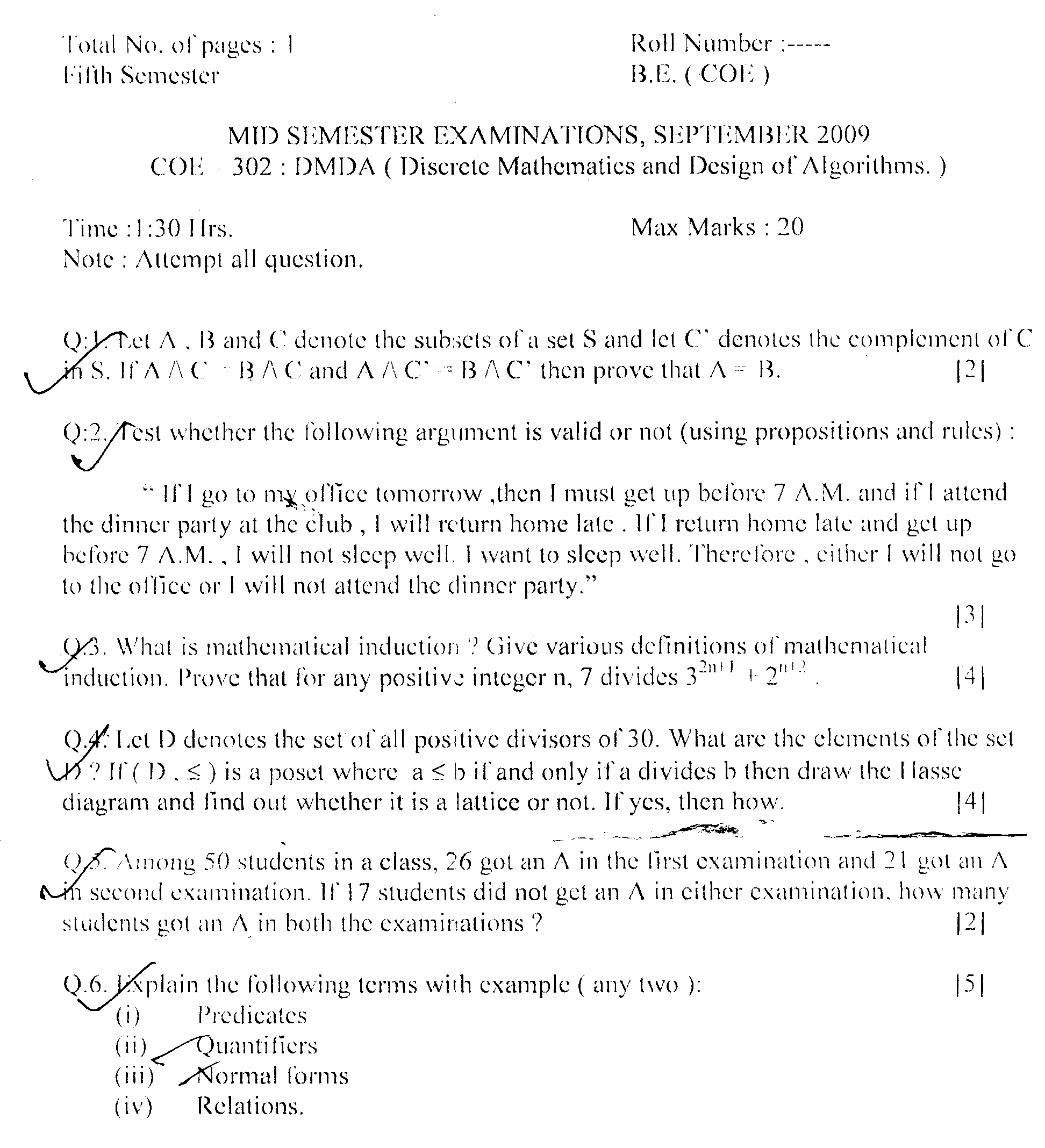 NSIT: Question Papers 2009 – 5 Semester - Mid Sem - COE-302