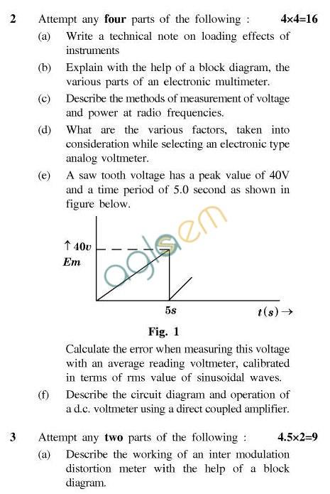 UPTU B.Tech Question Papers -IC-603-Electronics Measurement & Instrumentation