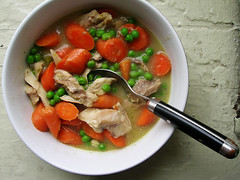 classic chicken stew with carrots and peas