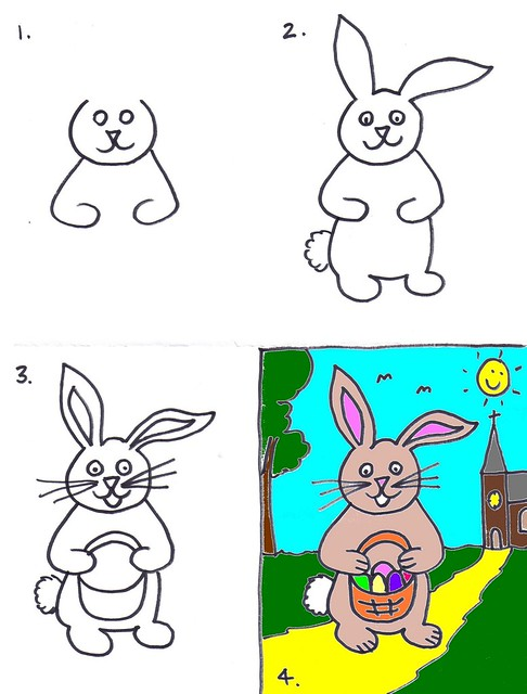 Kids Art Drawing The Easter Bunny Art For Kids